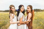 Three Beautiful Cheerful Hippie Girls, Best Friends, The Outdoors, Cute Smile, Trendy Hairstyles, Fe poster
