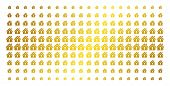 Home Keyhole Icon Golden Halftone Pattern. Vector Home Keyhole Shapes Are Organized Into Halftone Ar poster