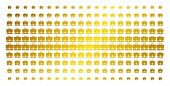 Case Icon Gold Colored Halftone Pattern. Vector Case Shapes Are Organized Into Halftone Array With I poster