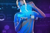 Impressive Hologram. Calm Attentive Smart Teenage Girl Looking At The Dots On Her Transparent Image  poster
