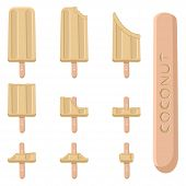 Vector Illustration Logo For Natural Nut Coconut Ice Cream On Stick. Ice Cream Pattern Consisting Of poster