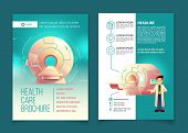 Vector Medical Examination Brochure, Health Care Concept With Cartoon Mri Scanner For Tomography And poster