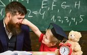 Playful Child Concept. Kid Cheerful Play With Dad. Father With Beard, Teacher Teaches Son, Little Bo poster