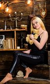 Lady Blonde Enjoy Leisure With Teddy Bear. Woman On Dreamy Face Relaxing In Wooden Interior. Rest An poster
