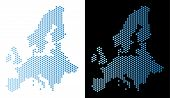Hex Tile European Union Map. Vector Territorial Scheme In Light Blue Color With Horizontal Gradient  poster