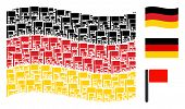 Waving Germany Flag. Vector Flag Design Elements Are United Into Mosaic German Flag Collage. Patriot poster