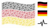 Waving Germany Official Flag. Vector Pulse Elements Are Grouped Into Geometric Germany Flag Abstract poster