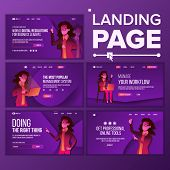 Landing Page Set Vector. Woman. Workflow Management. Business Coworking. Office Investment Webpage.  poster