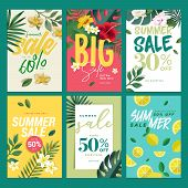 Eye Catching Summer Sale Mobile Banners, Ads And Posters Collection. Vector Illustrations Concept Fo poster