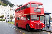 Llandudno, Wales, Uk - May 27, 2018 Londons Red Double Decker Car Parked On The Road. Buses On The  poster