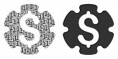 Financial Settings Gear Mosaic Icon Of Binary Digits In Random Sizes. Vector Digital Symbols Are Uni poster