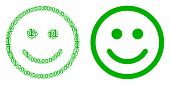 Glad Smiley Mosaic Icon Of One And Zero Digits In Various Sizes. Vector Digit Symbols Are Randomized poster