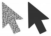 Mouse Cursor Collage Icon Of Zero And One Symbols In Different Sizes. Vector Digital Symbols Are Com poster