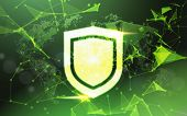 Shield Over Green Data Protection Privacy Concept Gdpr Cyber Security Network Background. Shielding  poster