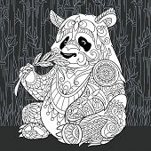 Panda Bear Drawn In Line Art Style. Jungle Background In Black And White Colors On Chalkboard. Color poster