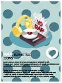 Rap Color Isometric Poster. Vector Illustration, Eps 10 poster