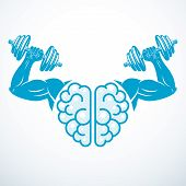 Brain With Strong Bicep Hands Of Bodybuilder. Power Brain Emblem, Genius Concept.  Brain Training, G poster