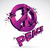 Peace Symbol Breaking To Pieces Vector 3d Realistic Illustration, Broken Peace, Antiwar Meeting And  poster