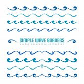 Set Of Wavy Borders, Divider Lines With Curly Pattern, Simple Nautical Ornaments And Flourish Vignet poster