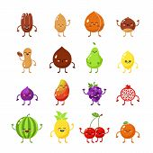 Fruits And Nuts Hero. Fruits Funny Icon. Vegetarian Character Icon. Happy Food, Vegetarian Friend Fo poster