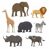 African Animal Cartoon Icon Set With Wild Savanna Mammal. Elephant, Lion And Giraffe, Rhino, Hippo,  poster
