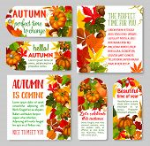 Autumn Label And Thanksgiving Day Gift Tag Set. Yellow September Leaf, Pumpkin Vegetable, Orange Map poster