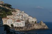 picture of saracen  - Town of Amalfi showing coastal road and promontory fort - JPG