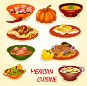 Mexican Cuisine Restaurant Lunch Icon With Savory Dish. Meat Taco Salad In Corn Tortilla, Fried Fish poster