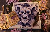 Mystic Box With Horned Demon, Tarot Cards, Magic Objects, Black Candles And Lilac Flowers. Occult, E poster