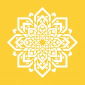 Mandala Flower. Vector Yoga Design Element. Round Floral Symbol. White And Yellow. Fresh Idea For Yo poster