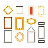Vector Frame Gallery Set Collection. Rectangular And Square Art Framework Isolated poster