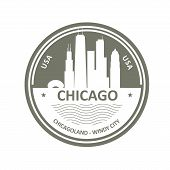 Badge With Chicago Skyline - Chicago City Emblem poster