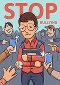 Stop School Bullying Poster. Phones And Fingers Pointing At Schoolboy Surrounded By Laughing Bullies poster