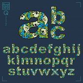 Ecology Style Flowery Font, Vector Typeset Made Using Natural Ornament. Alphabet Capital Letters Cre poster