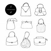 Elegant And Trendy Vintage Bags, Clutches And Purses Ink Set. Hand Drawn Vector Illustration. poster