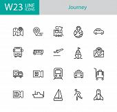 Journey Icons. Set Of Twenty Line Icons. Train, Bus, Plane. Journey Concept. Vector Illustration Can poster