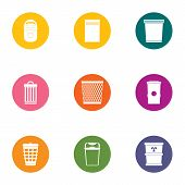 Waste Material Icons Set. Flat Set Of 9 Waste Material Vector Icons For Web Isolated On White Backgr poster