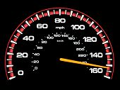 foto of mph  - A speedometer with the speed reading 150 - JPG