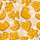 stock photo of christmas cookie  - Gingerbread background for christmas or new year holiday design - JPG