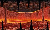 A High Quality Horizontal Seamless Background Of Landscape - Infernal Hot Cave With Lava. Horizontal poster