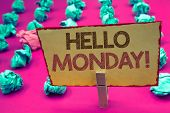 Words Writing Textss Hello Monday Motivational Call. Business Concept For Positive Message For A New poster