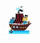 Pirate Icon With Vessel. Children Drawing Of Pirate Accessories Illustration Isolated On White Backg poster