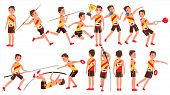 Athletics Male Player Vector. Playing In Different Poses. Man Athlete. Isolated On White Cartoon Cha poster