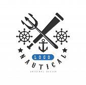 Nautical Logo Original Design, Retro Emblem With Marine Elements For Nautical School, Club, Business poster