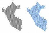 Round Point Peru Map Version. Vector Territorial Plans In Black Color And Cold Blue Color Variations poster