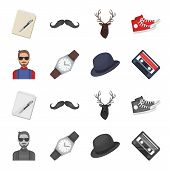 Hipster, Fashion, Style, Subculture .hipster Style Set Collection Icons In Cartoon, Monochrome Style poster