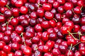 Close Up Of Pile Of Ripe Cherries With Stalks And Leaves. Large Collection Of Fresh Red Cherries. Ri poster