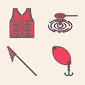Set Fishing Spoon, Fishing Jacket, Fishing Net In Water And Fishing Net Icon. Vector poster