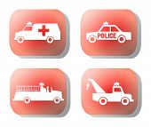 pic of tow-truck  - emergency silhouettes fire truck police car on red button illustration - JPG