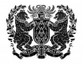 Heraldic Emblem With Black Silhouette Of Bear And Shield On White. Hand Drawn Engraved Illustration  poster